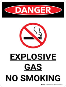 Danger: Explosive Gas No Smoking Portrait with Icon - Wall Sign