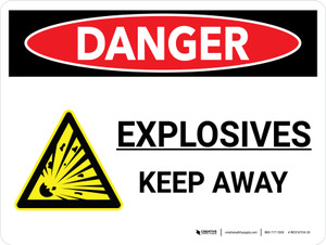 Danger: Explosives Keep Away Landscape with Icon - Wall Sign