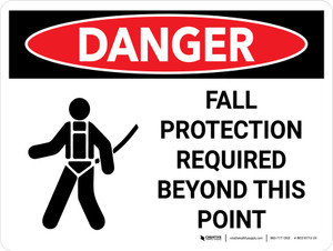 Danger: Fall Protection Required Beyond This Point Landscape with Icon - Wall Sign