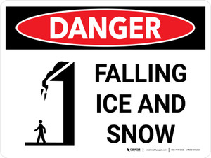 Danger: Falling Ice and Snow Landscape with Icon - Wall Sign