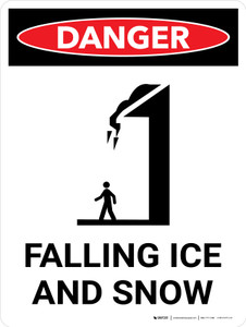 Danger: Falling Ice and Snow Portrait with Icon - Wall Sign