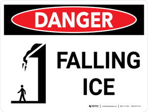 Danger: Falling Ice Warning Landscape with Icon - Wall Sign
