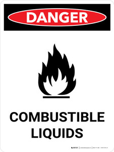 Danger: Flammable Explosive Liquids Portrait with Icon - Wall Sign