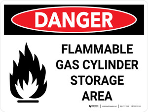 Danger: Flammable Gas Cylinder Storage Area Landscape with Icon - Wall Sign