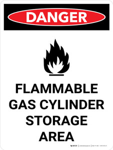 Danger: Flammable Gas Cylinder Storage Area Portrait with Icon - Wall Sign