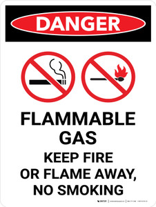 Danger: Flammable Gas Keep Fire Or Flame Away No Smoking Portrait with Icon - Wall Sign