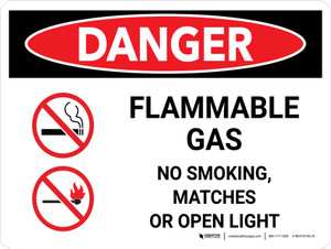 Danger: Flammable Gas No Smoking Matches Open Lights Landscape with Icon - Wall Sign