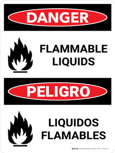 Danger: Flammable Liquids Bilingual Spanish with Icons - Wall Sign