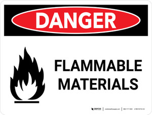 Danger: Flammable Materials Landscape with Icons - Wall Sign