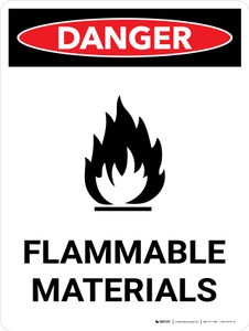 Danger: Flammable Materials Portrait with Icon - Wall Sign