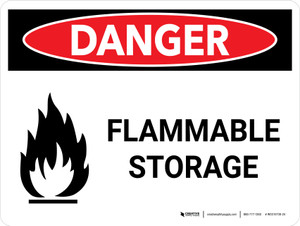 Danger: Flammable Storage Landscape with Icons - Wall Sign