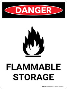 Danger: Flammable Storage Portrait with Icon - Wall Sign