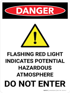 Danger: Flashing Red Light Indicates Hazardous Atmosphere Do Not Enter Portrait with Icon - Wall Sign