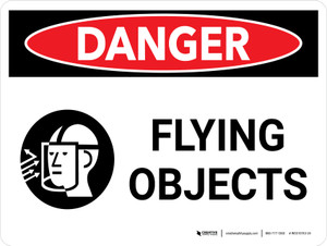 Danger: Flying Objects Landscape with Icons - Wall Sign