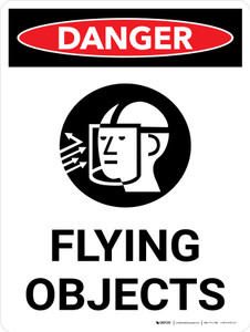 Danger: Flying Objects Portrait with Icon - Wall Sign