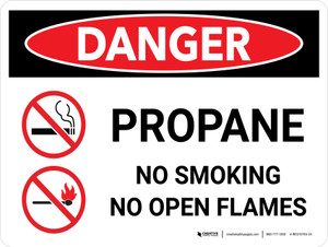 Danger: Gas Propane Smoking Open Flame Landscape with Icons - Wall Sign