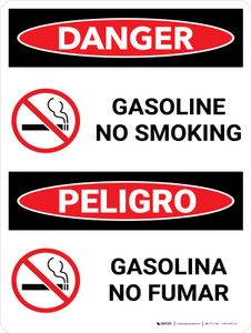Danger: Gasoline No Smoking Bilingual Spanish with Icons - Wall Sign