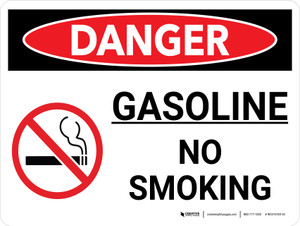 Danger: Gasoline No Smoking Landscape with Icons - Wall Sign