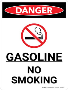 Danger: Gasoline No Smoking Portrait Portrait with Icon - Wall Sign