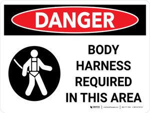 Danger: Hazard Body Harness Required In This Area Landscape with Icons - Wall Sign