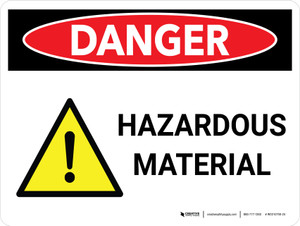 Danger: Hazardous Material Landscape with Icons - Wall Sign