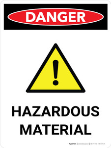 Danger: Hazardous Material Portrait with Icon - Wall Sign