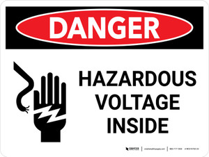 Danger: Hazardous Voltage Inside Landscape with Icon - Wall Sign