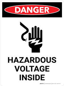 Danger: Hazardous Voltage Inside Portrait with Icon - Wall Sign