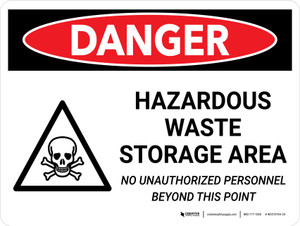 Danger: Hazardous Waste Storage Area Keep Out Landscape with Icon - Wall Sign