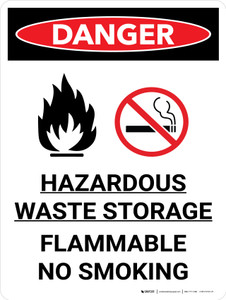 Danger: Hazardous Waste Storage Flammable No Smoking Portrait with Icon - Wall Sign