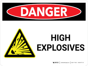 Danger: High Explosives Landscape with Icon - Wall Sign