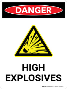 Danger: High Explosives Portrait with Icon - Wall Sign