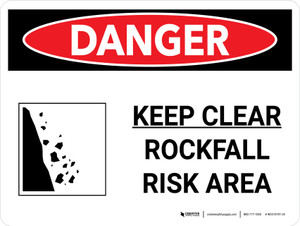 Danger: Keep Clear Rockfall Risk Landscape with Icon - Wall Sign