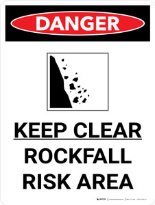 Danger: Keep Clear Rockfall Risk Portrait with Icon - Wall Sign