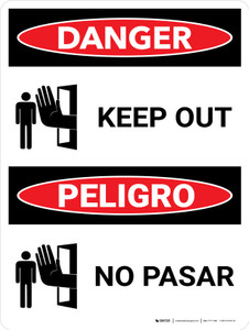 Danger: Keep Out Bilingual Portrait with Icons - Wall Sign