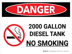 Danger: 2000 Gallon Diesel Tank No Smoking Landscape with Icon - Wall Sign