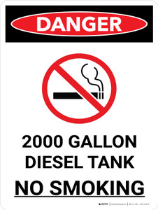 Danger: 2000 Gallon Diesel Tank No Smoking Portrait with Icon - Wall Sign