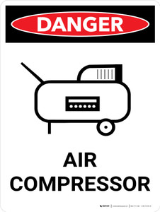 Danger: Air Compressor Portrait with Icon - Wall Sign