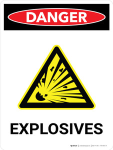 Danger: Explosives Portrait with Icon - Wall Sign