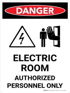 Danger: Electric Room Authorized Personnel Only Portrait with Icon - Wall Sign