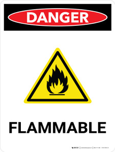 Danger: Flammable Portrait with Icon - Wall Sign