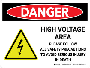 Danger: High Voltage Area Landscape with Icon - Wall Sign