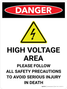Danger: High Voltage Area Portrait with Icon - Wall Sign