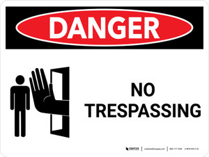 Danger: No Trespassing Landscape with Icon - Wall Sign