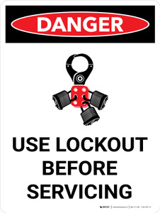 Danger: Use Lockout Before Servicing Portrait with Icon - Wall Sign