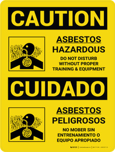 Caution: Asbestos Hazardous Bilingual Spanish With Icons - Wall Sign