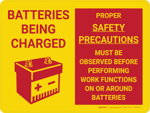 Caution: Batteries Being Charged Landscape With Icon - Wall Sign
