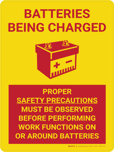 Caution: Batteries Being Charged Portrait With Icon - Wall Sign