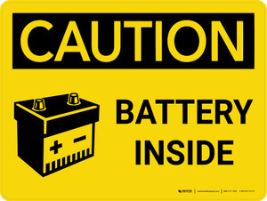 Caution: Battery Inside Landscape With Icon - Wall Sign