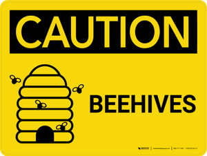 Caution: Beehives Landscape With Icon - Wall Sign